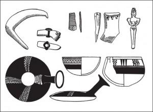 70-0-Характерные формы керамики, статуэток и орудий труда