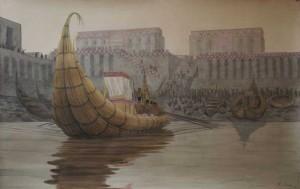 77-Реконструкця лодки у причала в Эриду на которых плавали в Урук