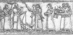 50-Ритуальная встреча ассирийского царя Ашшур-нацир-апала II после удачной охоты